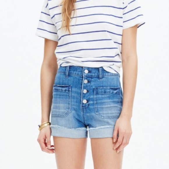 5f4d571850e9 Madewell Pants - Madewell High Waisted Button Front Shorts